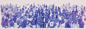Assunta A.A.M. tell them all about it 2017 , ballpoint-pen on paper 110 x 310 cm