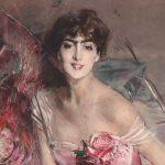 Giovanni Boldini: La signora in rosa (Olivia Concha de Fontecilla), 1916. Olio su tela, cm 163 x 113 Ferrara, Museo Giovanni Boldini (dettaglio)