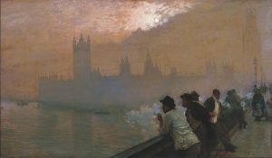 Giuseppe De Nittis: Westminster, 1878. Olio su tela, cm 110 x 192. Courtesy Marco Bertoli