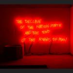 """Margherita Moscardini, The Decline of the Nation State and the End of the Rights of Man (2018). Veduta dell'installazione all'interno della mostra collettiva """"Metaphorai"""", Plovdiv, Bulgaria, 2018"""