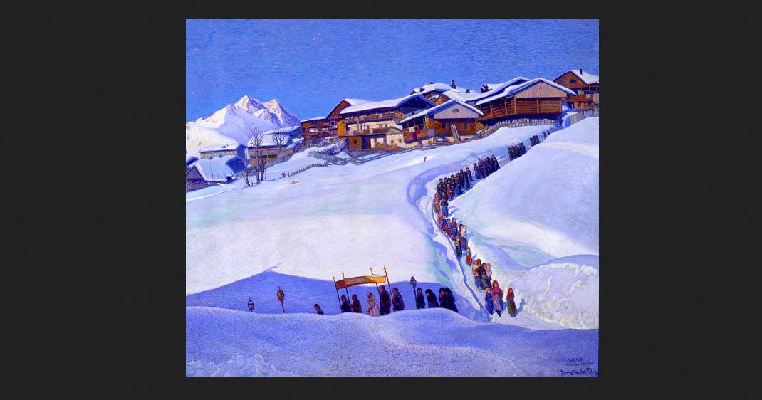 Giovanni Napoleone Pellis Ciconicco, Fagagna 1888 – Valbruna 1962 Il viatico in montagna (accompagnamento del viatico), 1921-22 Olio su tela, cm 178 x 336 Casa Cavazzini, Udine