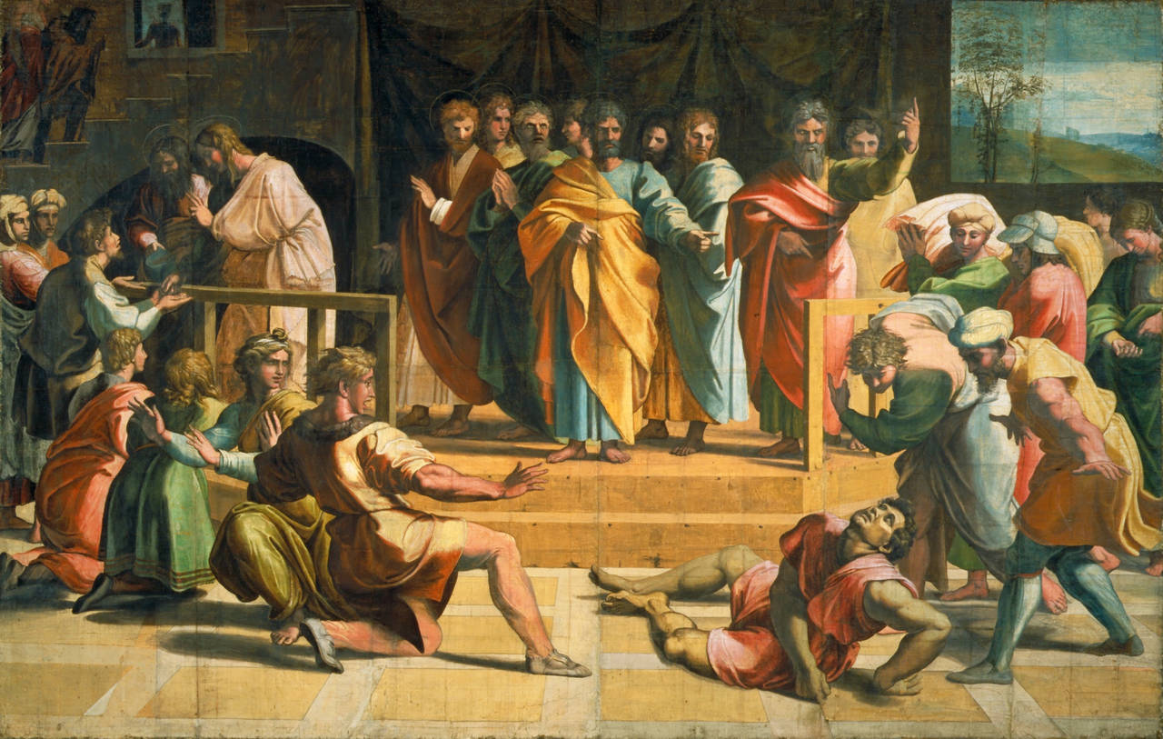 Raphael Cartoon, The Death of Ananias: Acts Chapter 5: Verses 1–5, by Raphael, 1515 – 16, Italy