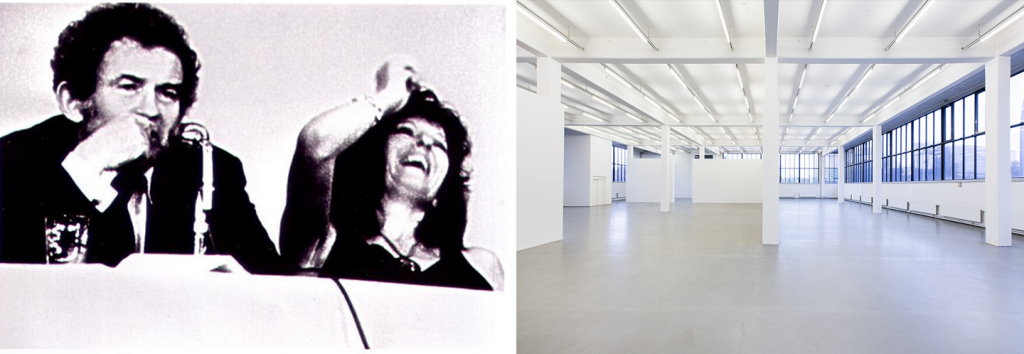 Left: Town Bloody Hall (still), 1973, Film. Right: Kunstverein in Hamburg. Photo: Fred Dott.