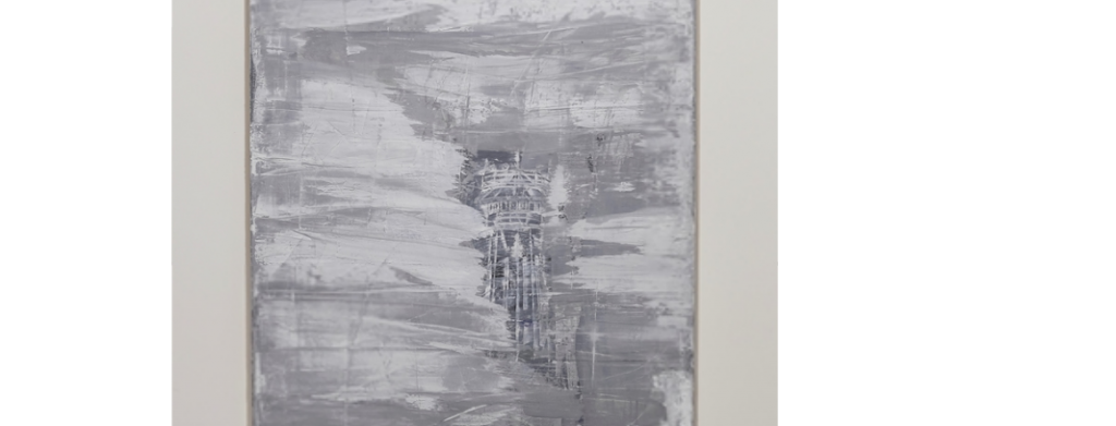 Gary Simmons, Misty Tower Top (2019) (detail). Signed and dated on verso. Oil paint and cold wax on canvas. 182.8 x 122.1 cm. Courtesy the artist and Simon Lee Gallery. Gary Simmons, Misty Tower Top (2019) (detail). Signed and dated on verso. Oil paint and cold wax on canvas. 182.8 x 122.1 cm. Courtesy the artist and Simon Lee Gallery.