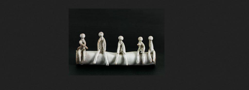 """Fausto Melotti, """"Bambini"""", 1955, ceramica smaltata, Mart, Lascito Claudia Gian Ferrari"""