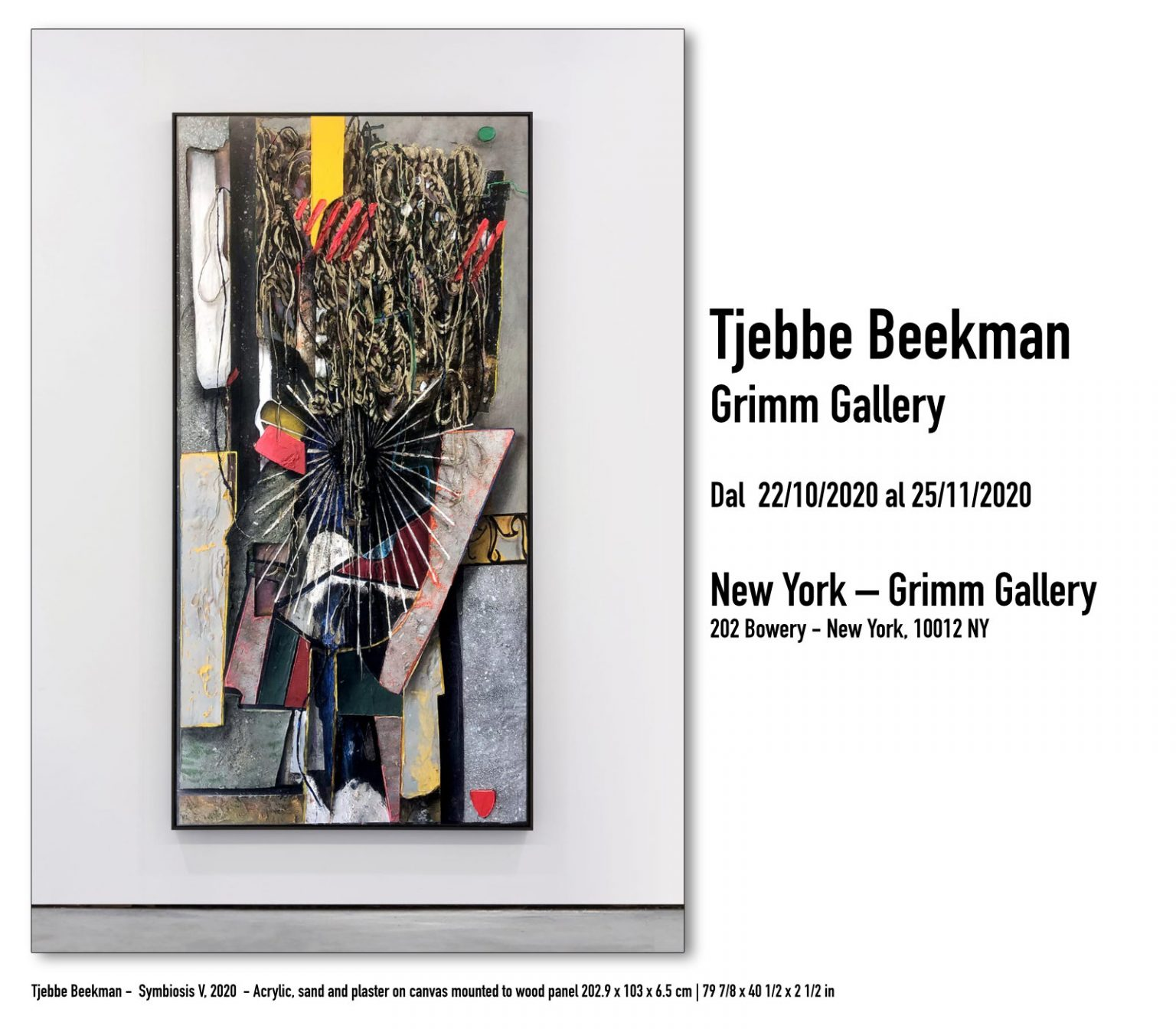 Tjebbe Beekman - Symbiosis V, 2020 - Acrylic, sand and plaster on canvas mounted to wood panel 202.9 x 103 x 6.5 cm   79 7/8 x 40 1/2 x 2 1/2 in