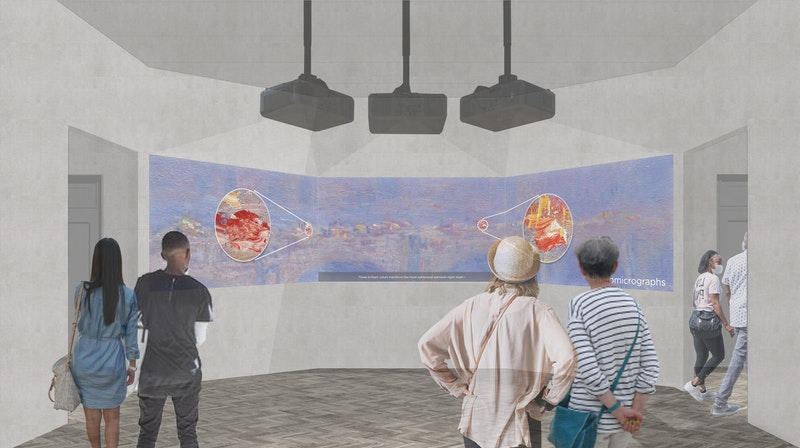The exhibition features a video projection space where visitors can learn about the many layers of Monet's canvases, illustrated here in a concept rendering.