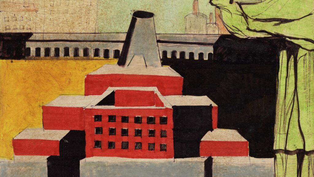 Architettura con santo. Composizione architettonica con figura umana, 1972 Collezione MAXXI Architettura. Archivio Aldo Rossi © Eredi Aldo Rossi