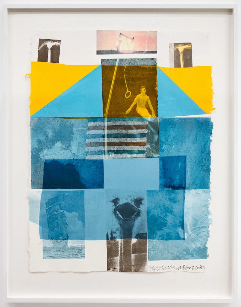 Robert Rauschenberg Flue, 1980 Signed and dated in pencil recto lower right corner »RAUSCHENBERG 80«. Solvent transfer, acrylic and collage on paper 80.6 x 62.2 cm/ 31.7 x 24.5 in. [h x w]
