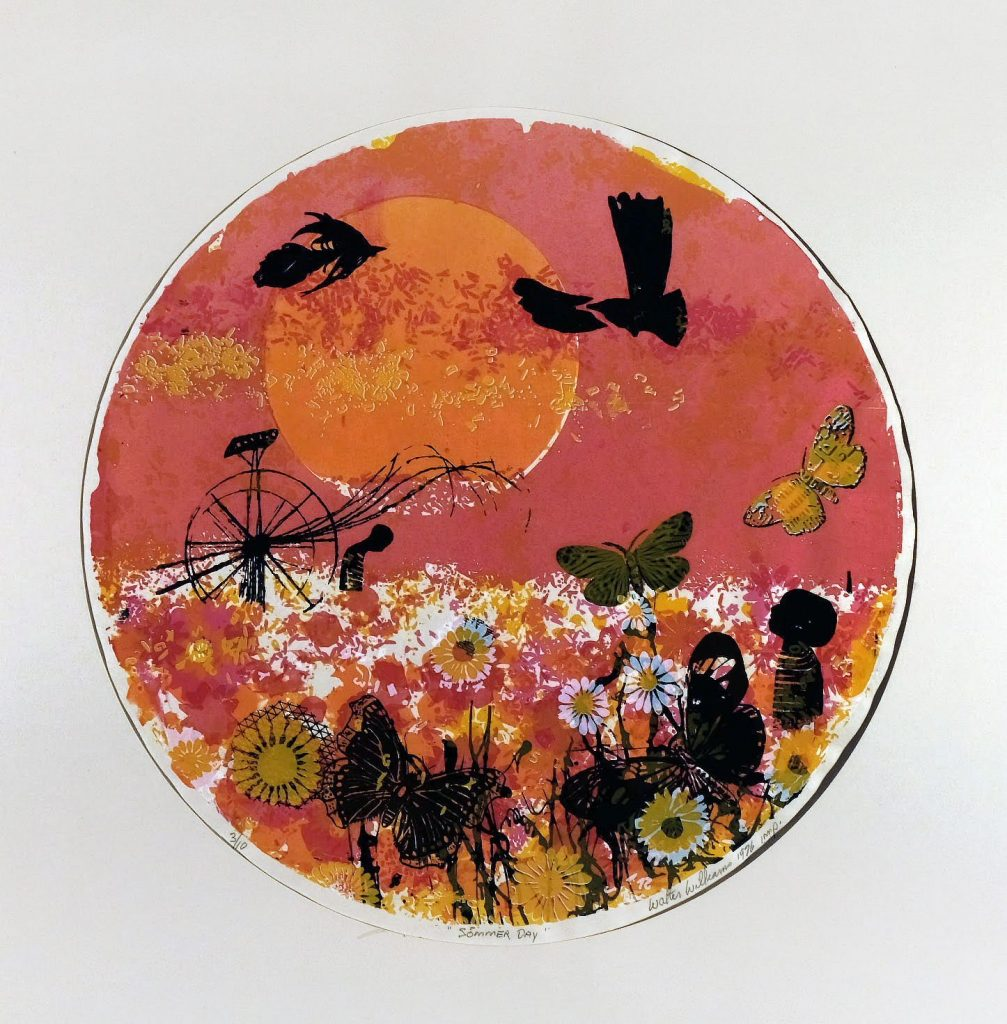 Summer Day, 1976, color woodcut, 14 1/8 inches, diameter, $7,000