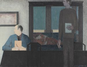 WILL BARNET - The Father 1992, oil on canvas, 33 1/8 x 43 inches