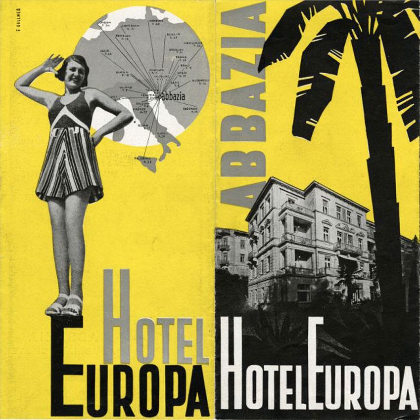 PRIME ESPERIENZE - HOTEL EUROPA, ABBAZIA. PIEGHEVOLE PUBBLICITARIO, C. 1934-38