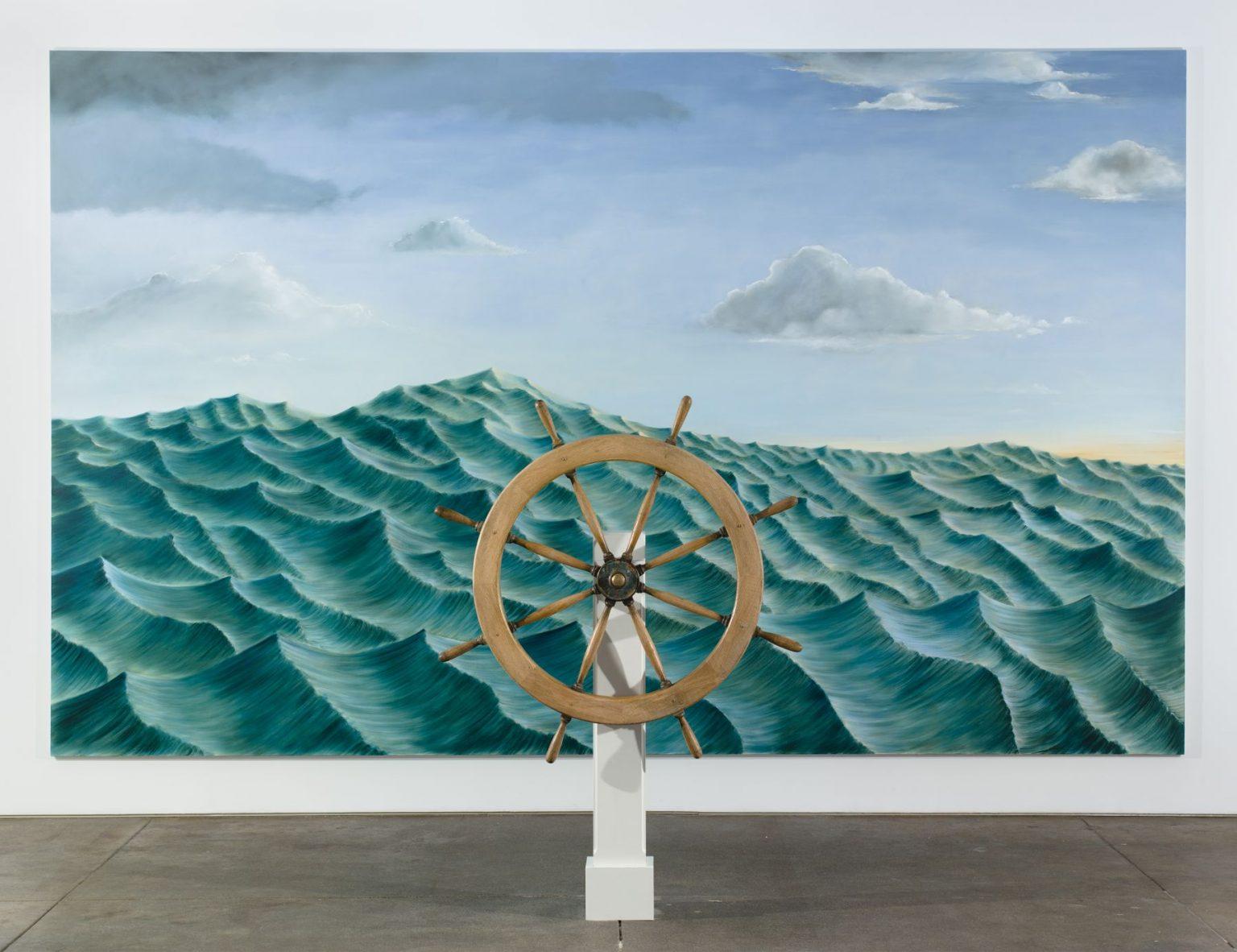 Sean Landers Around the World Alone (Epilogue I) 2011 Oil on linen; Captain's wheel: wood, brass, bronze Painting: 108 x 174 inches, 274.3 x 442 cm Captain's wheel: 65.75 x 11 inches, 167 x 27.9 cm