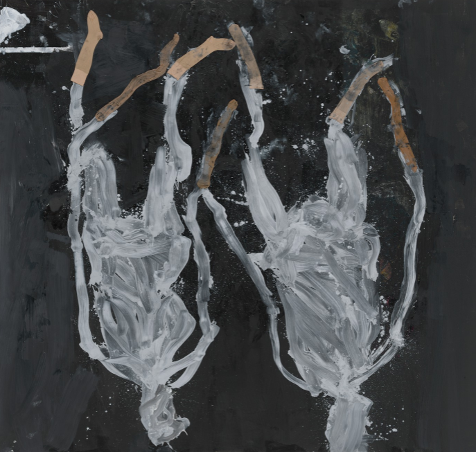 Georg Baselitz, Displaced Persons, 2020 Oil, dispersion adhesive, and nylon stockings on canvas, 116 ⅛ × 122 ⅛ inches (195 × 310 cm) © Georg Baselitz. Photo: Jochen Littkemann