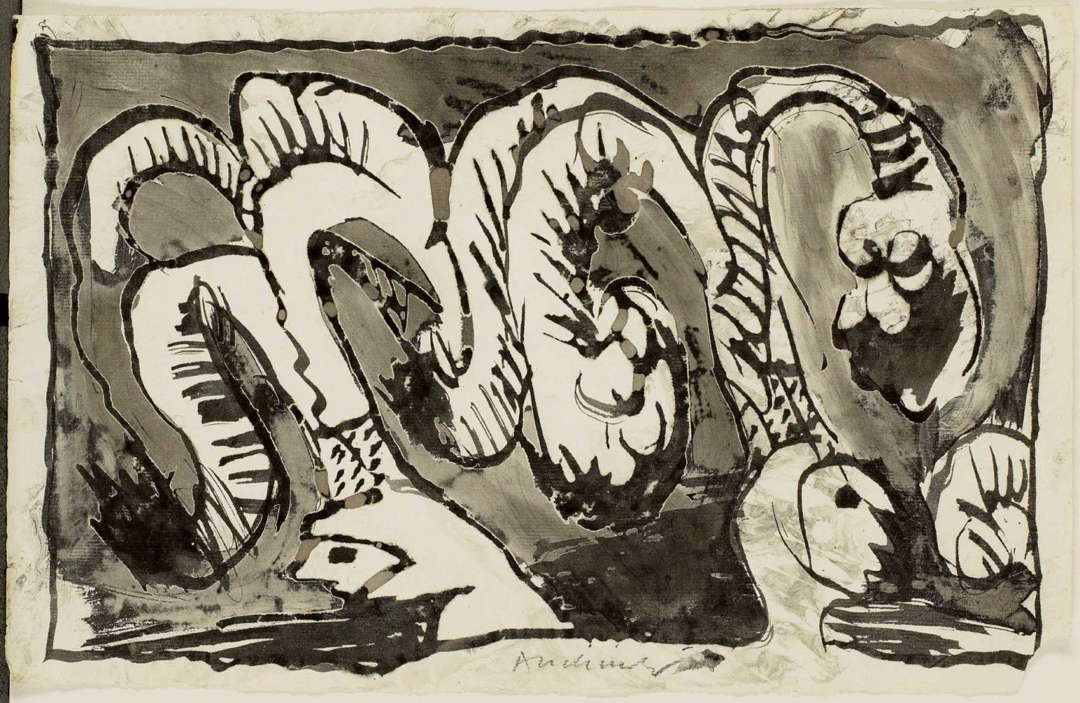 "Pierre Alechinsky, ""A propos de Binche"", 1967 — © RMFAB / Courtesy of the artist / photo: Grafisch Buro Lefevre, Heule"