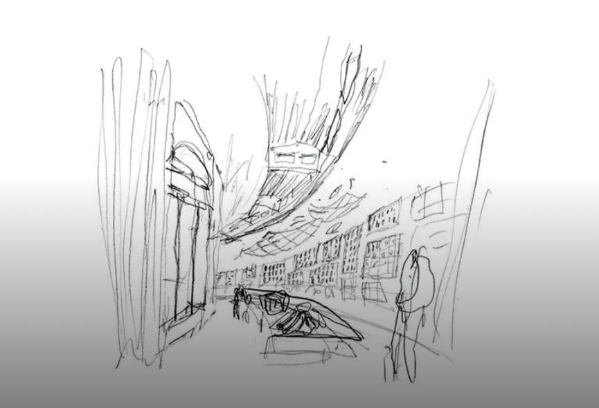 Sneak peek del progetto Sapere come usare il sapere. Foto: Michele De Lucchi, Sapere come usare il sapere, Padiglione Venezia. Matita su carta
